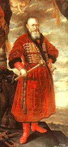 Polish military commander, Stefan Czarniecki (1599-1665), in a crimson costume typical of Polish magnates, coloured using Polish cochineal dye; image from http://iranpazirik.com/htmls/cochincal.htm